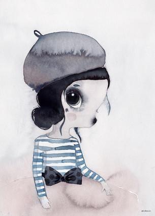 Mrs Mighetto 'Les Petits' Miss Vivienne watercolour art print - 50x70cm - norsu interiors - 1