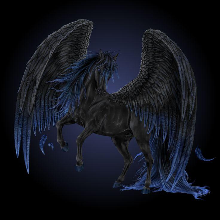 Black and blue Pegasus | magic | Pinterest | Pegasus ...