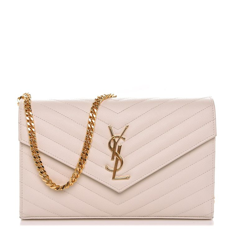 This is an authentic SAINT LAURENT Grain De Poudre Matelasse Chevron Monogram Chain Wallet in Porcellana. This elegant chain wallet features fine pebbled chevron quilted leatherin white. The shoulder bag features a gold chain link shoulder strap and a facing V- shaped flap with a prominent gold YSL logo. The flap opens with a button snap to a partitioned interior with card slot panels, zippered, and patch pockets. This cross body bag has room for daytime or evening essentials with the…