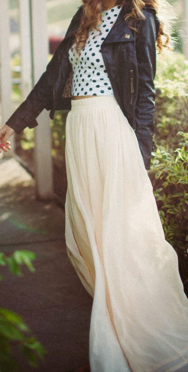 Maxi skirt + polka dots + moto jacket.