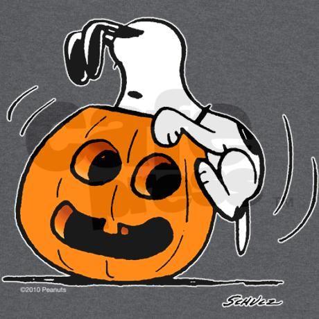 Snoopy Jack O' Lantern T-Shirt on CafePress.com