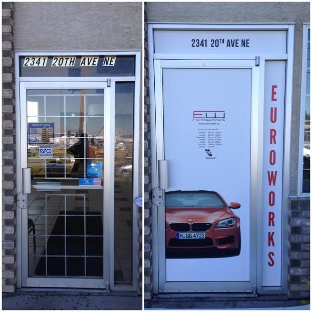 Store front window decals, before & after at Euroworks European Car Services http://www.euroworks.ca