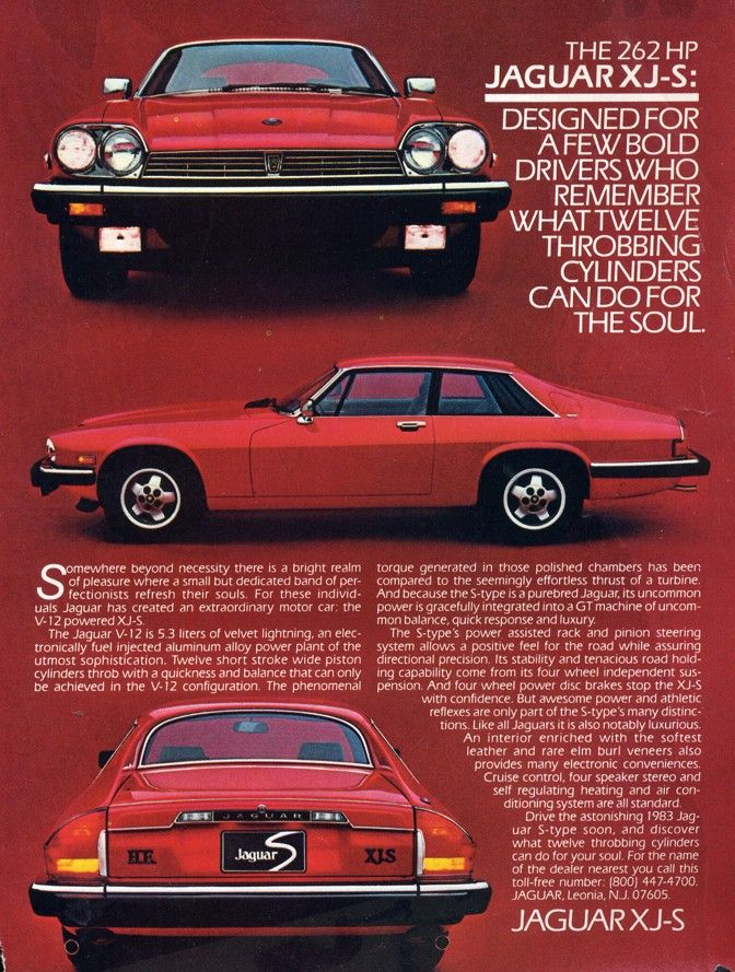 Jaguar XJS: A real low-point in car design and advert design.