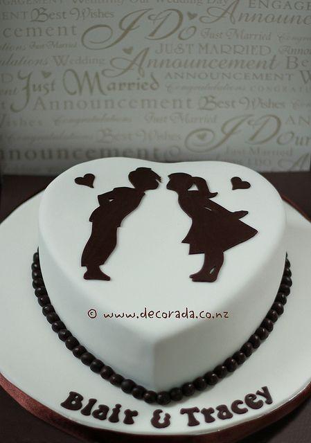 super cute~kissing silhouette cake
