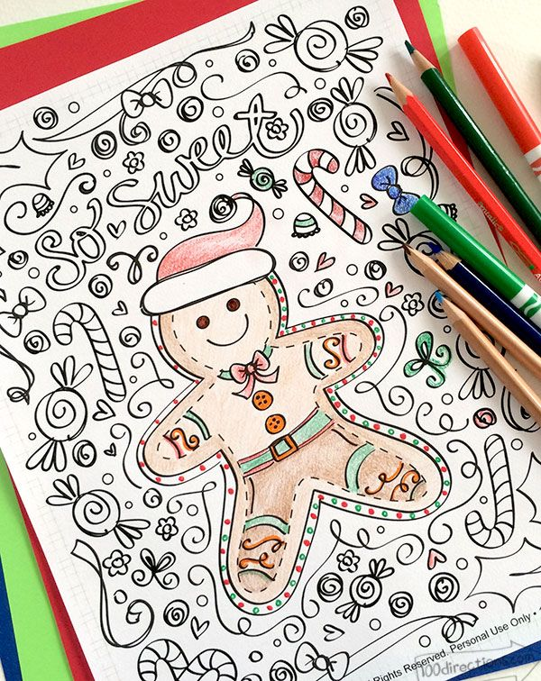 Cute printable! Perfect to use for kids or as adult coloring page. Christmas Gingerbread Man.