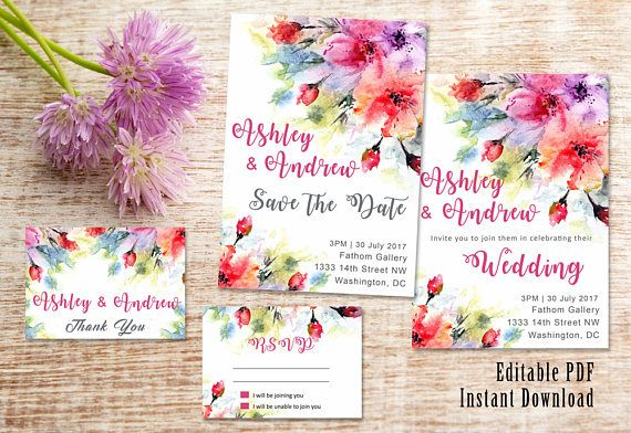 Wedding suite INSTANT DOWNLOAD | Editable Templates | Water Color | Wedding Invite, rsvp, save the date, invite | Red Rose Collection | PDF