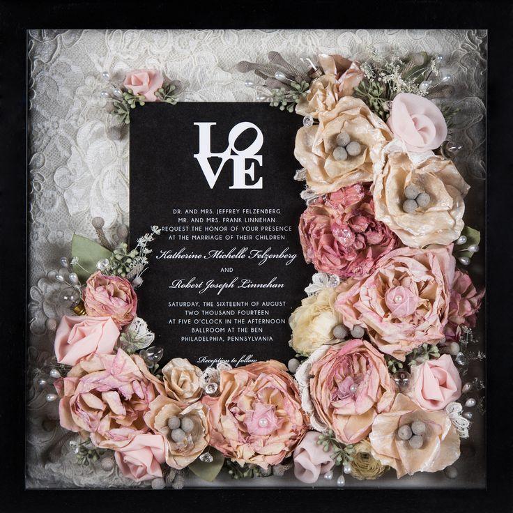 "Wedding Bouquet Preservation - 12""x12"" Box - Included invitation & lace from wedding dress - www.hanawillowdesign.com https://stlouisarch.regency.hyatt.com/en/hotel/weddings.html?src=prop_stlrs_Pinterest_Wedding"