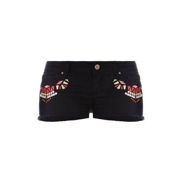 BLACK AZTEC EMBROIDERED SHORTS - Official TallyWeijl Store (€26) ❤ liked on Polyvore featuring shorts, aztec print shorts, aztec shorts and embroidered shorts