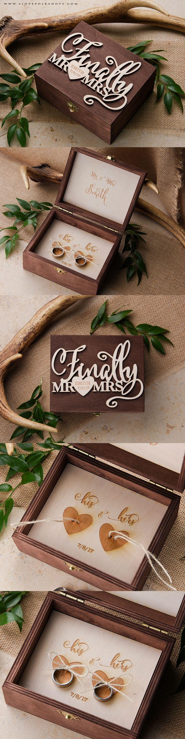 The 25 best ring bearer box ideas on pinterest wedding ring finally mr mrs wedding wooden ring bearer box with custom engraving realwood junglespirit Images