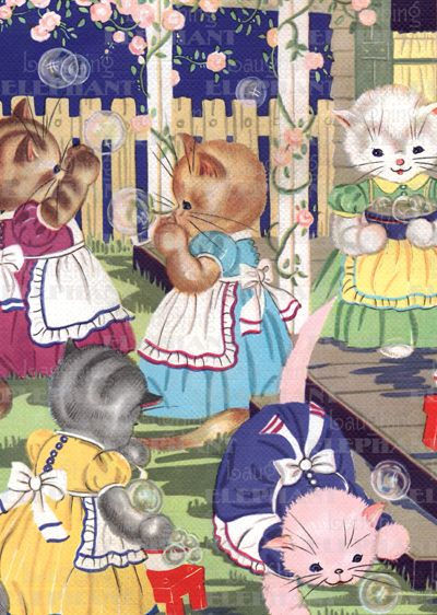 Kittens in Garden - Greeting Card (Bagged with Envelope)   Birthday Greeting Cards