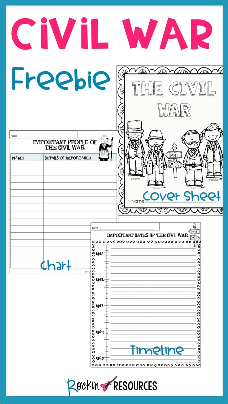 Civil War Timeline, Cover Page and Chart Free Civil war