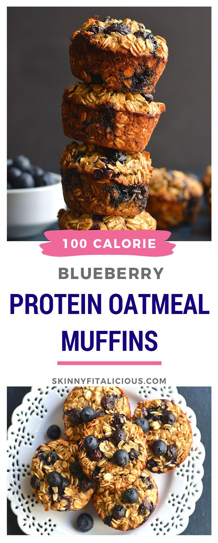 Blueberry Protein Oatmeal Muffins! These easy make ahead muffins are perfect for meal prepping a healthy breakfast or snack. Higher in protein to balance the carbs, these 97 calorie muffins are a better choice. Gluten Free + Low Calorie