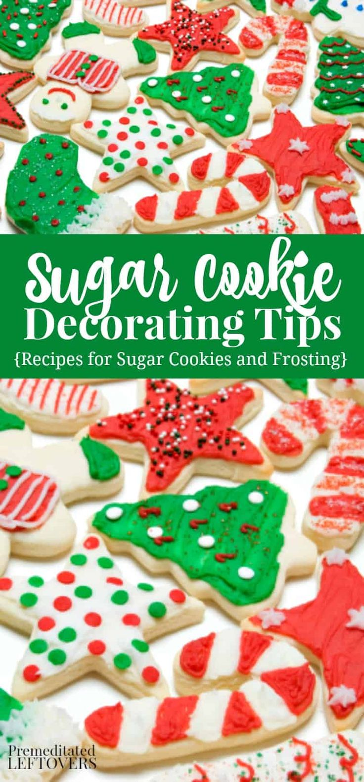 Tips for decorating #Christmas #cookies. Easy Sugar cookie Recipe, Butter Cream Frosting Recipe and tips for decorating sugar cookies. Ideas for foods to use to decorate sugar cookies. Plus How to Make Colored Sugar for decorating cookies.
