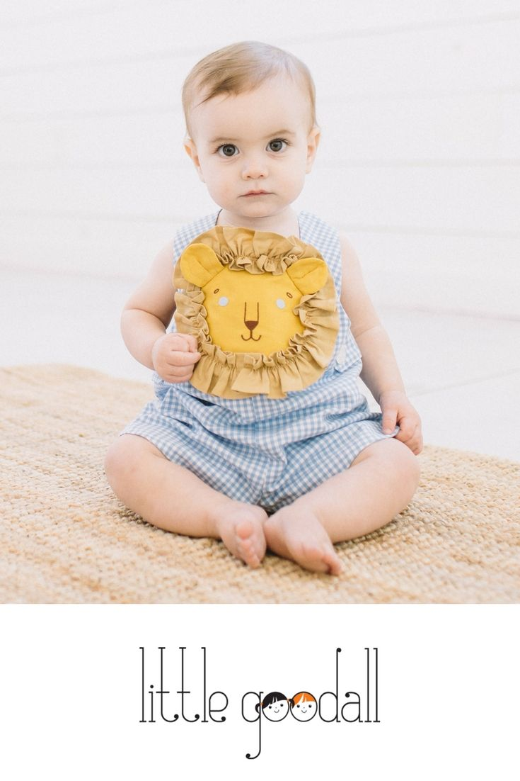8f2cb236b Darling baby boy Lion Romper in blue cotton gingham! Little Goodall  children's clothing is handmade in Texas and designed to last for  generations.