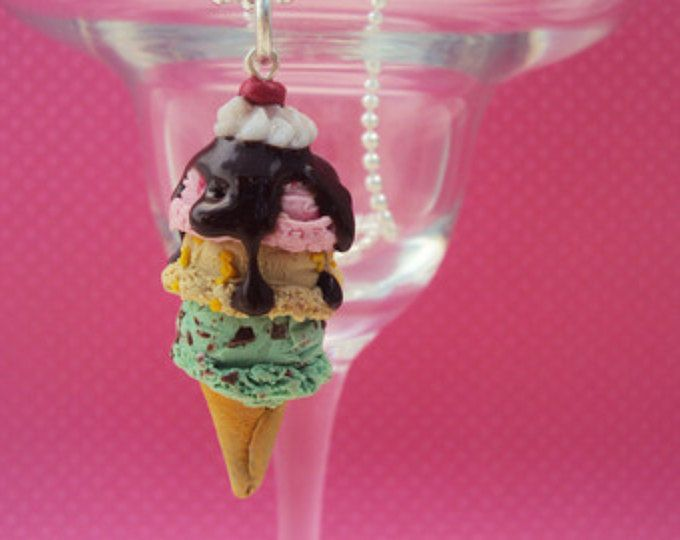 Over the Top Ice Cream Necklace Polymer Clay, Miniature Clay Dessert Food Jewelry, Ball Chain
