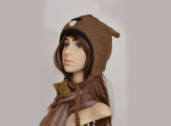 Brown mouse animal hat   warm hat  knit hat  by HatsMittensEtc