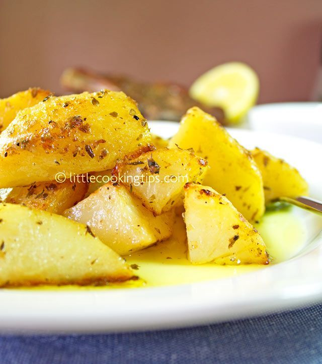 Authentic Traditional Greek Lemon Garlic Roasted Potatoes (Patates fournou)