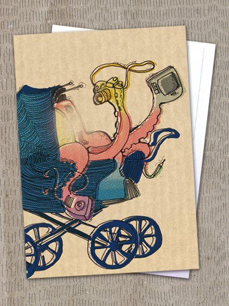 """Postkarte """"Multimedia Kind"""" von Granatapfel - Onlineshop mit Illustriertem. auf DaWanda.com"""