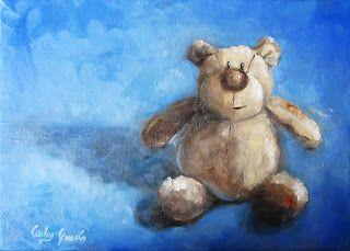 PINTURA AL OLEO Y FOTOGRAFIA Carlos García: Osito. Óleo sobre lienzo 35 x 25 cm. Little bear. ...