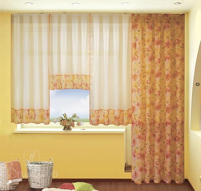 Комплект занавесок из вуали ИВЕТТА оранжевые лилии от РеалТекс (Россия) - купить…