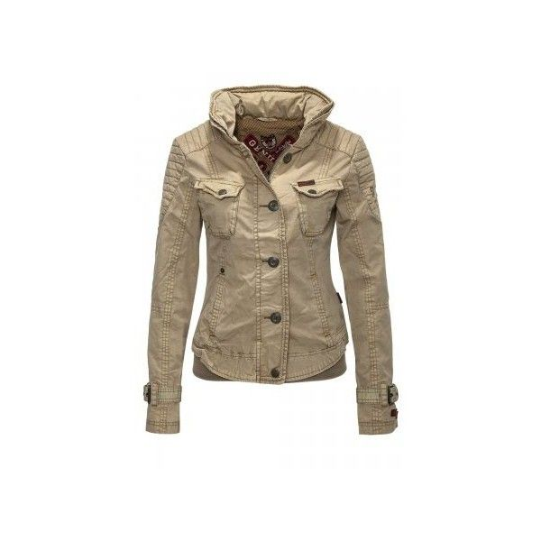 Khujo Women's Between-Seasons Jacket Austin Biker ($120) ❤ liked on Polyvore featuring outerwear, jackets, zipper jacket, biker jacket, slim jacket, slim fit jacket and brown jacket