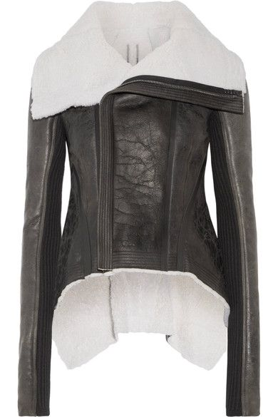 Rick Owens - Leather-trimmed Shearling Biker Jacket - Black - IT48