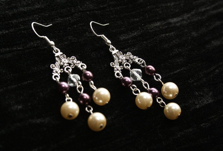 Chandelier Earrings with Cream and Burgundy Pearls and Clear Crystal Beads. $15.00, via Etsy.