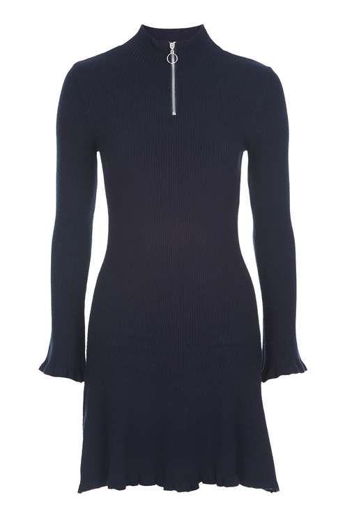 Frill Hem Zip Dress