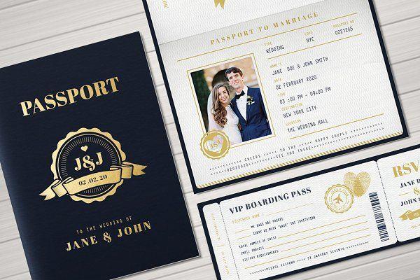 Passport Wedding Invitation In 2020 Passport Wedding Invitations Passport Wedding Wedding Invitation Card Design
