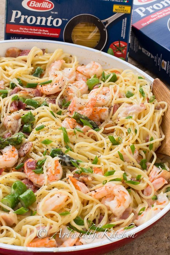 This recipe for One Pan Shrimp Asparagus Carbonara was an enormous hit with my family! A quick and easy dish that is perfect for busy families, yet so incredibly tasty you'll want to make it for company.