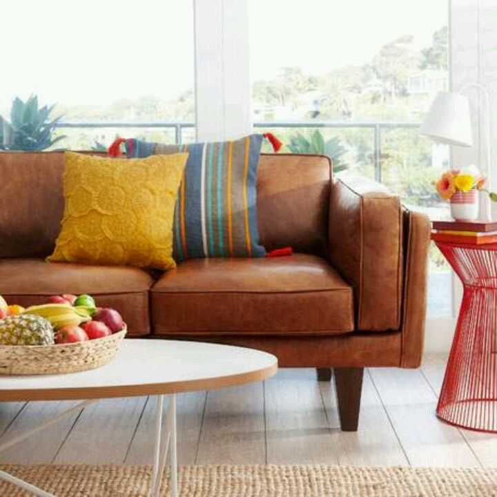 Great Combo, Brown Leather Sofa And Colorfull Pillows.