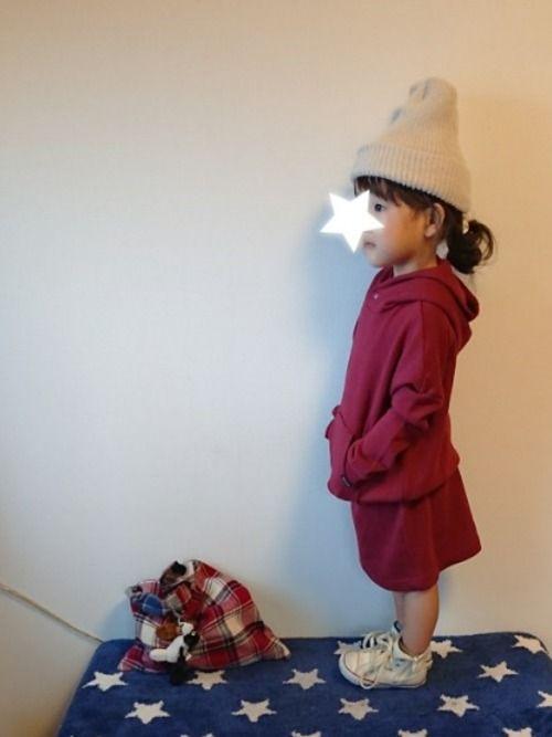 おはようございます😊 クゥオティ定番のパーカーワンピ♥ 今年の新色でたね( ˘ ³˘)♡ 黒、白、