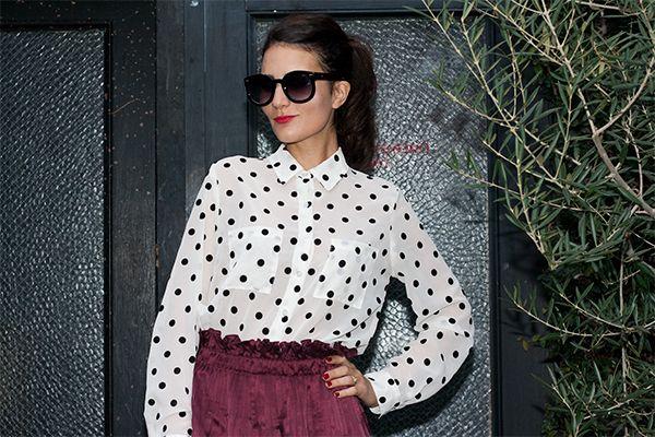 American Apparel Polka dots shirt, Isabel marant burgundy skirt.  http://initialsla.com/polka-dots/