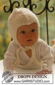 "BabyDROPS 16-12 - In Krausrippe gestrickte DROPS Mütze in ""Eskimo"". - Free pattern by DROPS Design"