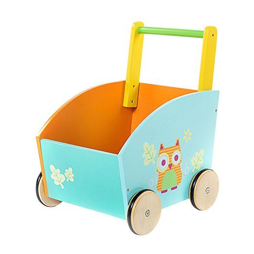 Labebe Baby Walker, 2-in-1 Use as Toy Chest, Orange Owl Baby Push Toy with for 1-3 Years, Baby Wagon/Activity Walker Baby/girl walker/Learning Walker Girl/Baby Walker Wheels/Push Walker Boy