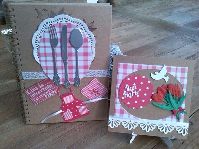 Recipe book with card.