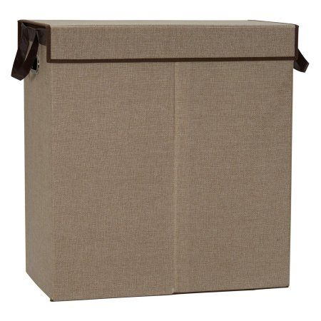 Household Essentials Collapsible Double Laundry Hamper Sorter, Sand, Beige