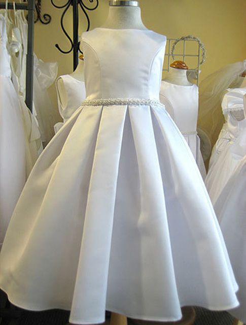 First Communion Dresses Unique   first communion dress 235 classical elegant unique box pleated skirt ...
