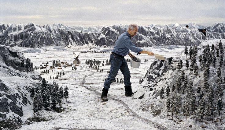 Goldeneye (1995): Derek Meddings puts the finishing touches on his Siberian landscape.