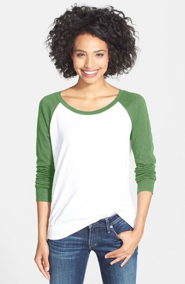 Caslon® Lightweight Colorblock Cotton Tee (Regular & Petite) available at #Nordstrom