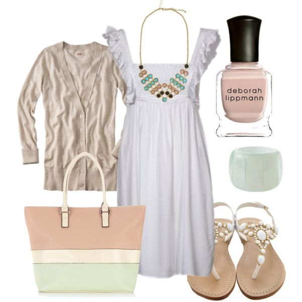 """I love how this creator """"htotheb"""" on Polyvore thinks:) The taupe sweater with the white dress is totally chic. I love that color combo idea. Soft pastels always look feminine."""