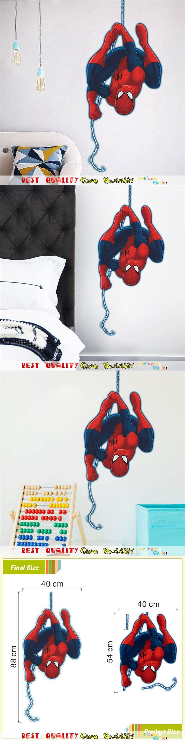 Hot Sale Spiderman Wall Sticker Marvel SuperHero Wall Decal Paper Craft  Kids Bedroom Decor Christmas Gifts Part 50