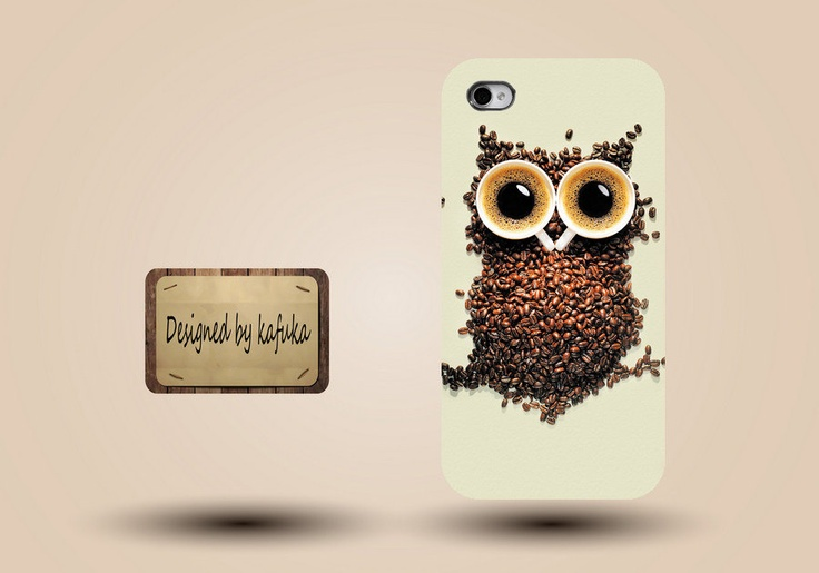 unique iphone case, i phone 4 4s 5 case,cool cute iphone4 iphone4s  5 case,stylish plastic rubber cases cover,owl coffee funny  p946. $12.99, via Etsy.