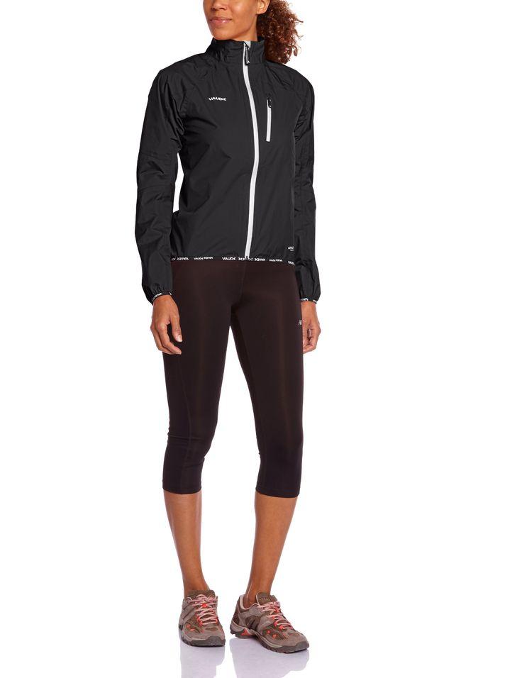 VAUDE Women's drop ii - Chubasquero de ciclismo para mujer, tamaño 40 UK, color negro