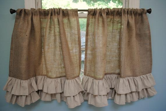 Burlap Curtains. I want to do something like this for the bathroom curtains!