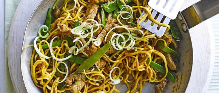 Pork, noodles, mangetout: the three main ingredients for this quick and easy stir-fry. Spice it up with sweet chilli sauce to serve and tuck in for a fast midweek meal for two.