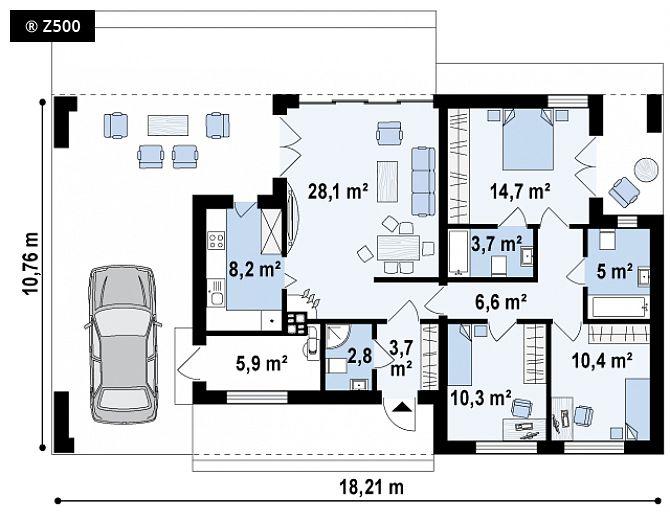 Plano de casa elegante y moderna con 3 dormitorios y 3 baños-5