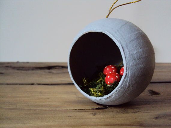 Mossy Mushroom Ornament - Woodland Christmas Decor - Diorama Art - Rustic Fairy Toadstool - Moss Nature Decoration on Etsy, $18.44