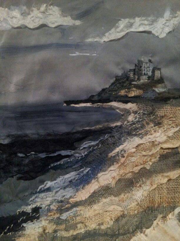 Bamburgh Castle - Laura Edgar #textile art #embroidery # collage www.lauraedgar.co.uk