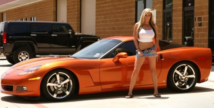 Gisele Tiffany Bastow With C6 Atomic Orange Corvette